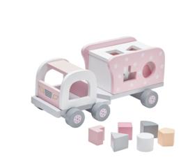 Kid's Concept Houten vrachtwagen met vormpjes Roze