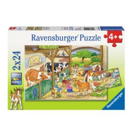 Ravensburger - Vrolijk boerderijleven 2x24 stukjes