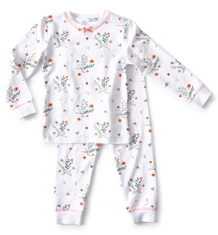 Little Label - baby pyjama flower white - 86