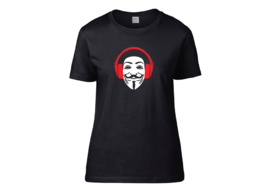 Anonymous with headphone t-shirt woman semi-fit