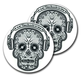 Slipmats (pair) Technics Skull & Phones (White)