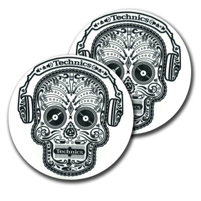 Slipmats (pair) Technics Skull & Phones (White)