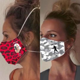 Gecertificeerd mondmasker camouflage rood/zwart of grijs/wit