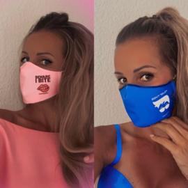 """Gecertificeerd mondmasker blauw """"Don't touch"""" of roze """"Beware I bite"""" volwassenen of kinderen"""