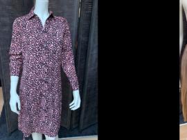 Overhemd jurk zwart/roze