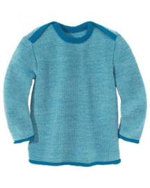 Disana merino wollen trui blauw-naturel