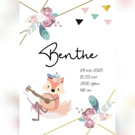 Geboorteposter 'Benthe' A5/A4