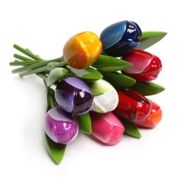 Houten Tulpen 34 cm - Bouquet assorti