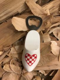 Flesopener klomp 8,5 cm - wit Brabants hart