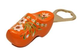Flesopener klomp 8,5 cm - Oranje Bloem