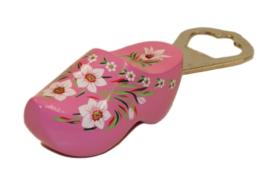 Flesopener klomp 8,5 cm - Roze Bloem