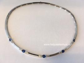 Collier blauwe saffier en diamant