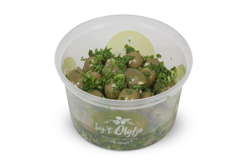 Knoflook peterselie olijven