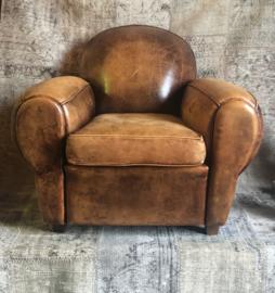 Art deco schaaplederen fauteuil sleets
