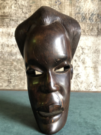 Vintage ebbenhouten masker incl verz