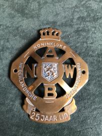Oud ANWB schild 25 jaar lid incl verz.