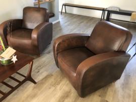 2 geweldige lederen fauteuils speciale print