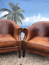 Verkocht 2 super mooie schaapslederen fauteuils