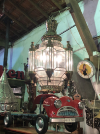 Grote oude hanglamp glas in lood