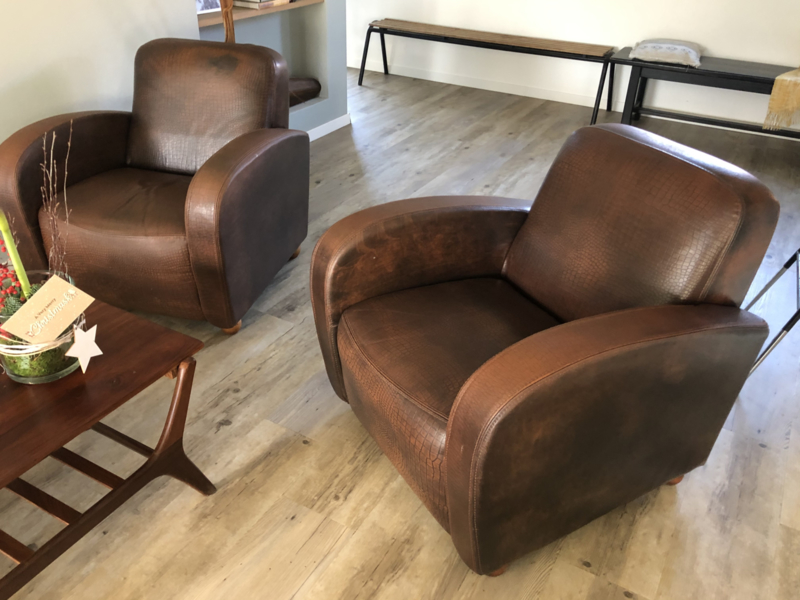 Verkocht 😜 2 geweldige lederen fauteuils speciale print