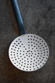 Brocante Emaille Schuimspaan - blauw