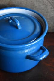 Brocante Emaille Pan - blauw