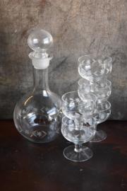 Prachtig Karaf met 5 Glaasjes - geslepen glas