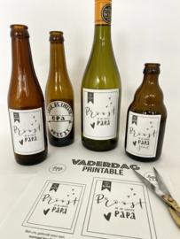 Vaderdag free printable: bier- en wijnetiketten