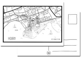 Kaart plattegrond Hoorn met gebouwen.
