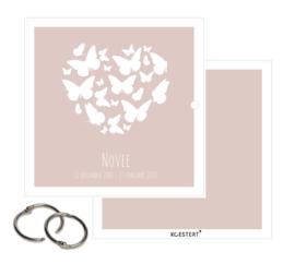 Rouwkaarten XL bundel | met naam | roze | vlinder