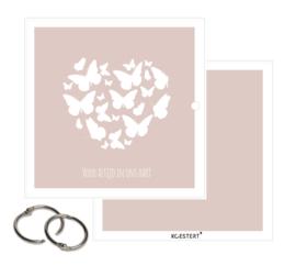Rouwkaarten XL bundel | roze | vlinders