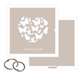 Rouwkaarten XL bundel | grijs | vlinders