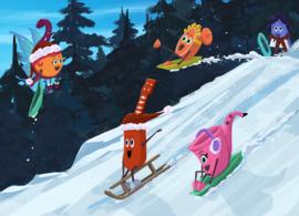 Kerstkaart MiniMuzikantjes Sleetje rijden