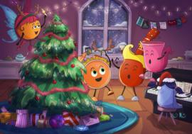 Kerstkaart MiniMuzikantjes Zingen bij de kerstboom