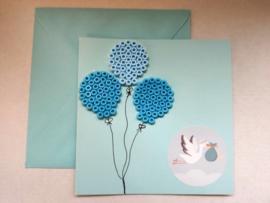 Strijkkralen ansichtkaart Geboorte jongen blauwe kaart