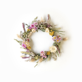 Dried Flower Wreath full deco pink XS