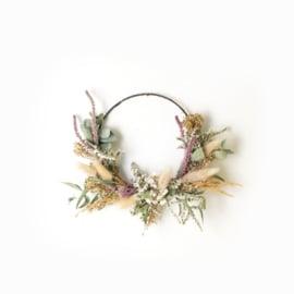 Dried Flower Wreath half deco green XS