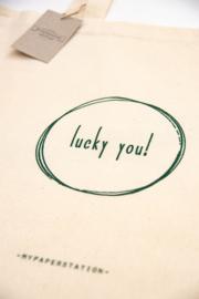 Katoenen tas 'lucky you!' set van 3 stuks
