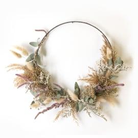 Dried Flower Wreath half deco green