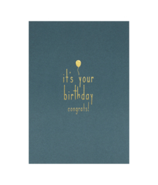 Ansichtkaart 'It's your birthday' set van 5
