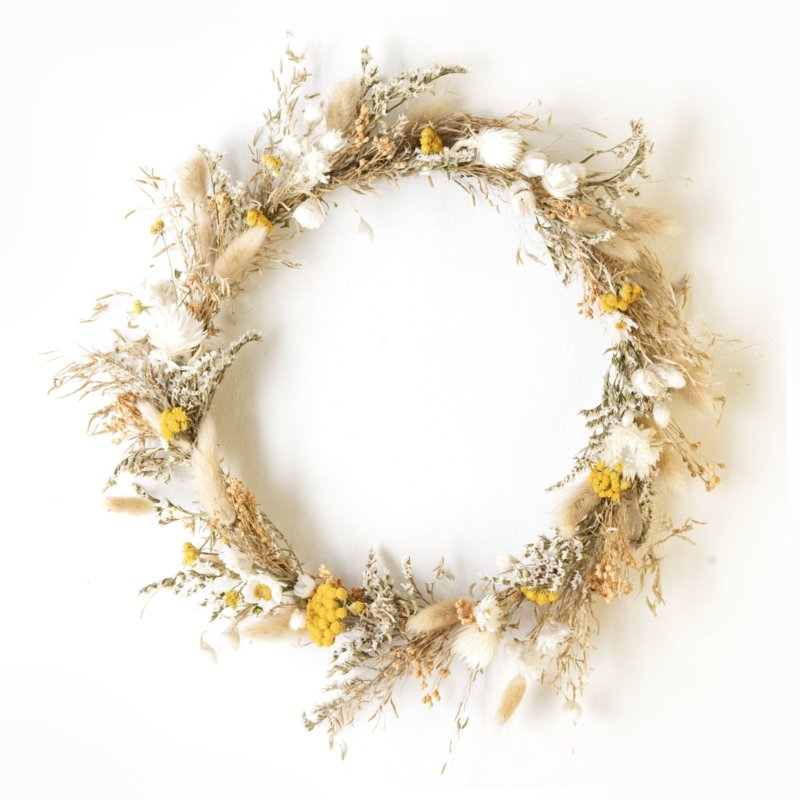 Dried Flower Wreath full deco yellow