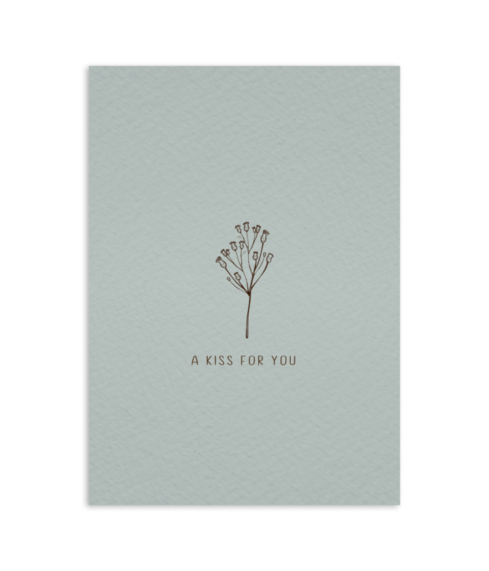 Postcard 'a kiss for you' / 5 pieces