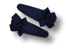 Haarspeldjes donkerblauw met strikje