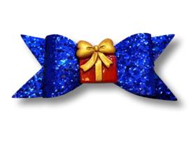 Glitter haarstrik XL blauw met pakje   10 cm