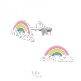 Zilveren kinderoorbellen regenboog pastel