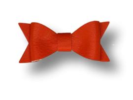 Leder-loook haarstrik oranje | 7 cm