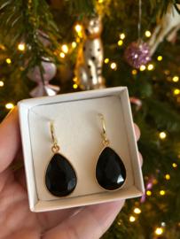 Creolen goud met hanger crystal | toermalijn-zwart