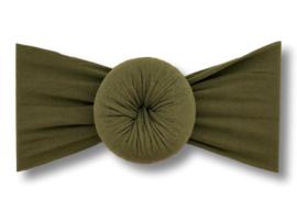 Baby haarband turban olijfgroen