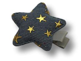 Haarlokspeldje ster denim lichtblauw met sterretjes goud