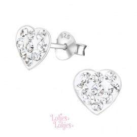 Zilveren kinderoorbellen hartje | kristal